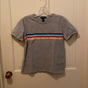 Forever 21 Color Striped Cropped T-Shirt